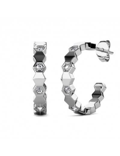 Boucles d'oreilles Curved - Argenté et Cristal