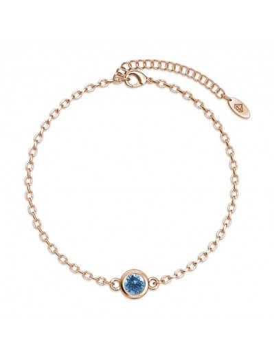 Bracelet Birth Stone  - Or Rosé et Bleu clair